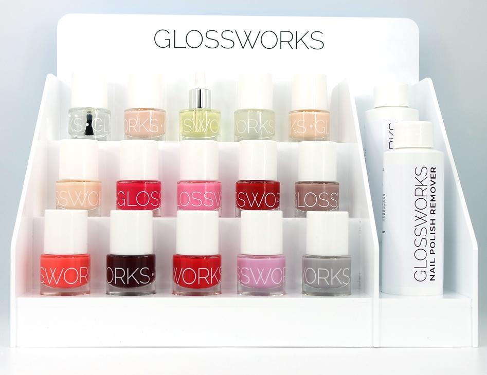 Natuurlijke nagellakken display van Glosworks